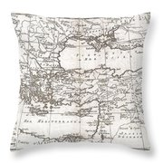 1780 Raynal And Bonne Map Of Turkey In Europe And Asia Throw Pillow