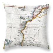 1780 Raynal And Bonne Map Of Western Africa Throw Pillow