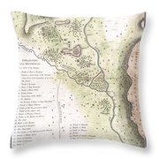 1783 Bocage Map Of The Topography Of Sparta Ancient Greece And Environs Throw Pillow