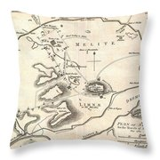 1784 Bocage Map Of Athens Greece Throw Pillow