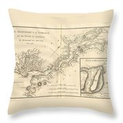 1784 Bocage Map Of The Bosphorus And The City Of Byzantium  Istanbul  Constantinople Throw Pillow