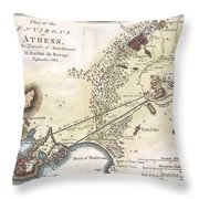 1784 Bocage Map Of The City Of Athens In Ancient Greece Throw Pillow
