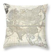1784 D Anville Wall Map Of Asia Throw Pillow
