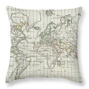 1784 Vaugondy Map Of The World On Mercator Projection Throw Pillow