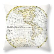 1785 Clouet Map Of North America And South America Throw Pillow
