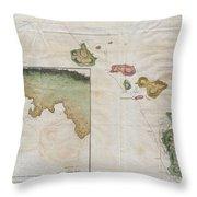 1785 Cook  Bligh Map Of Hawaii  Throw Pillow