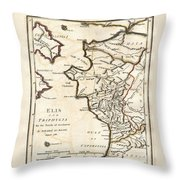 1786 Bocage Map Of Elis And Triphylia In Ancient Greece  Throw Pillow