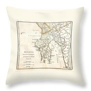 1786 Bocage Map Of Messenia In Ancient Greece Throw Pillow