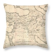 1787 Bonne Map Of The Dispersal Of The Sons Of Noah Throw Pillow