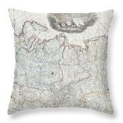 1787 Wall Map Of The Russian Empire Throw Pillow