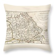 1788 Bocage Map Of Thessaly In Ancient Greece Throw Pillow