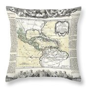 1788 Brion De La Tour Map Of Mexico Central America And The West Indies Throw Pillow