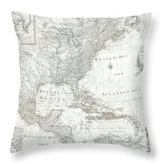 1788 Schraembl  Pownall Map Of North America And The West Indies Throw Pillow