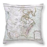 1789 Brion De La Tour Map Of North America Throw Pillow