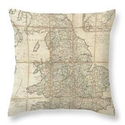 1790 Faden Map Of The Roads Of Great Britain Or England Throw Pillow