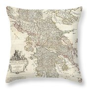 1794 Anville Map Of Ancient Greece  Throw Pillow