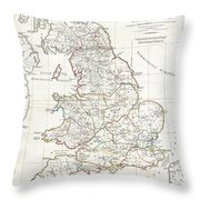 1794 Anville Map Of England In Ancient Roman Times Throw Pillow