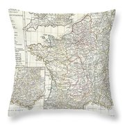 1794 Anville Map Of Gaul  Or France In Ancient Roman Times Throw Pillow
