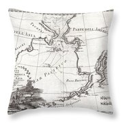 1798 Cassini Map Of Alaska And The Bering Strait Throw Pillow