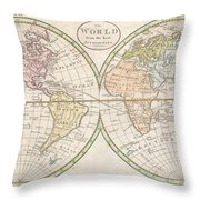 1798 Payne Map Of The World  Throw Pillow