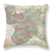 1799 Cary Map Of Piedmont Italy  Milan Genoa  Throw Pillow