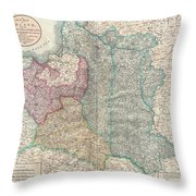 1799 Cary Map Of Poland Prussia And Lithuania  Throw Pillow