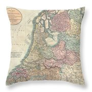 1799 Cary Map Of The Netherlands Throw Pillow