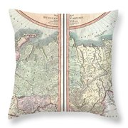 1799 Cary Map Of The Russian Empire Throw Pillow