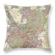 1799 Cary Map Of The Upper And Lower Rhine Throw Pillow