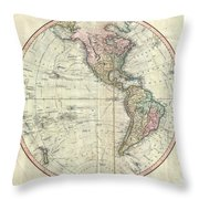 1799 Cary Map Of The Western Hemisphere  Throw Pillow