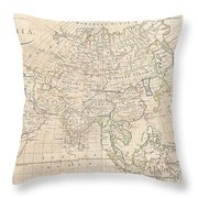 1799 Clement Cruttwell Map Of Asia Throw Pillow