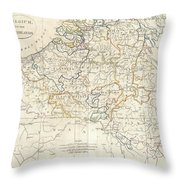 1799 Clement Cruttwell Map Of Belgium Or The Netherlands Throw Pillow