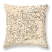 1799 Clement Cruttwell Map Of China Korea And Taiwan Throw Pillow