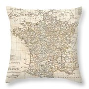 1799 Clement Cruttwell Map Of France In Departments Throw Pillow