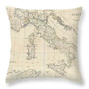 1799 Clement Cruttwell Map Of Italy Throw Pillow