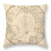 1799 Clement Cruttwell Map Of North Pole Throw Pillow