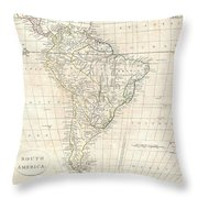 1799 Clement Cruttwell Map Of South America  Throw Pillow