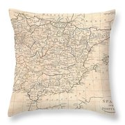 1799 Clement Cruttwell Map Of Spain And Portugal Throw Pillow