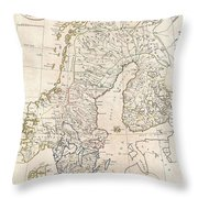 1799 Clement Cruttwell Map Of Sweden Denmark And Norway Throw Pillow