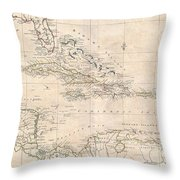 1799 Clement Cruttwell Map Of West Indies Throw Pillow