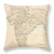 1799 Clement Crutwell Map Of Hindoostan Throw Pillow