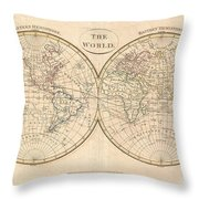 1799 Cruttwell Map Of The World In Hemispheres Throw Pillow