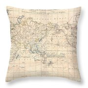 1799 Cruttwell Map Of The World On Mercators Projection Throw Pillow