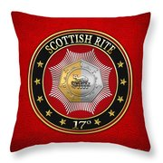 17th Degree - Knight Of The East And West Jewel On Red Leather Throw Pillow