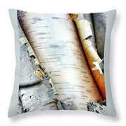 Unraveling Birch Throw Pillow