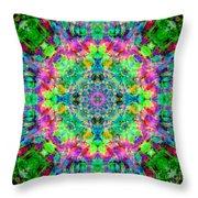 Rainbow Light Mandala Throw Pillow