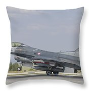 Turkish Air Force F-16 During Exercise Throw Pillow