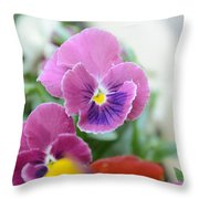 Viola Tricolor Heartsease Throw Pillow