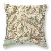 1800 Bardi Map Of Genoa Genova Italy  Throw Pillow