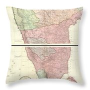 1800 Faden Rennell Wall Map Of India Throw Pillow